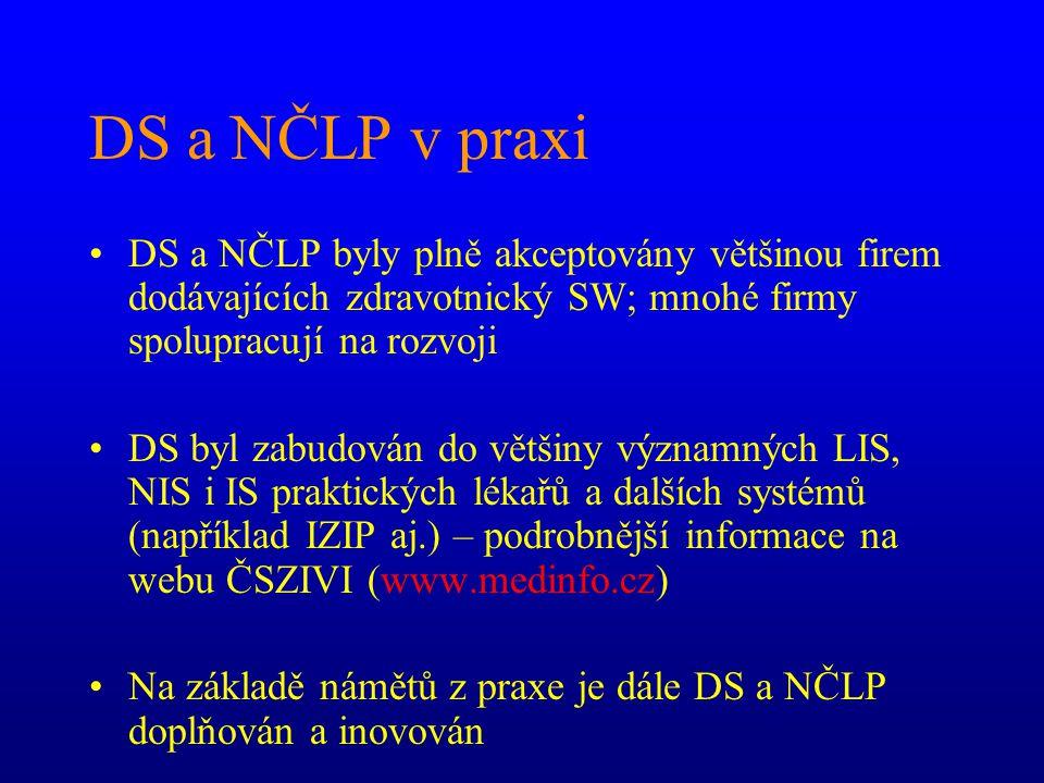 DS a NČLP v praxi DS a NČLP byly plně akceptovány většinou firem dodávajících zdravotnický SW; mnohé firmy spolupracují na rozvoji DS byl zabudován do většiny významných LIS, NIS i IS praktických lékařů a dalších systémů (například IZIP aj.) – podrobnější informace na webu ČSZIVI (www.medinfo.cz) Na základě námětů z praxe je dále DS a NČLP doplňován a inovován