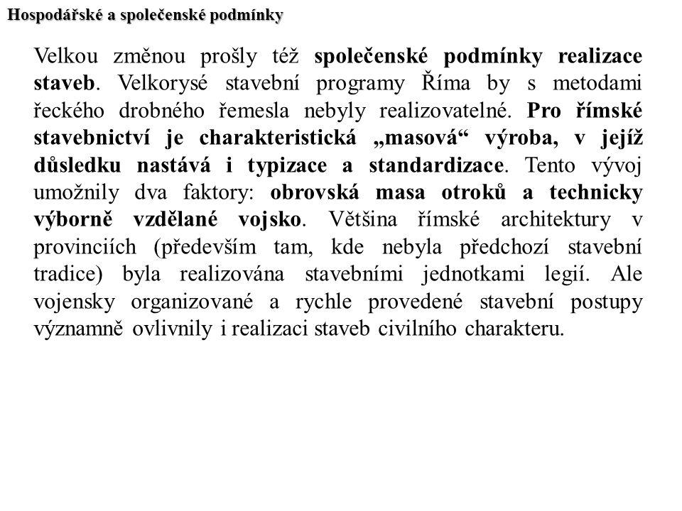 Hospodářské a společenské podmínky Velkou změnou prošly též společenské podmínky realizace staveb. Velkorysé stavební programy Říma by s metodami řeck