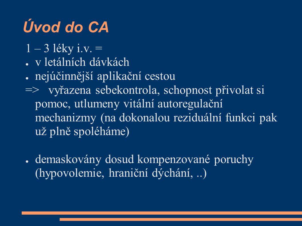 Úvod do CA 1 – 3 léky i.v. = ● v letálních dávkách ● nejúčinnější aplikační cestou => vyřazena sebekontrola, schopnost přivolat si pomoc, utlumeny vit