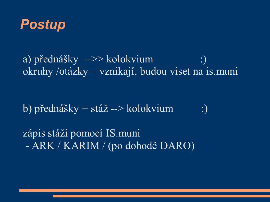 Postup a) přednášky -->> kolokvium :) okruhy /otázky – vznikají, budou viset na is.muni b) přednášky + stáž --> kolokvium :) zápis stáží pomocí IS.mun