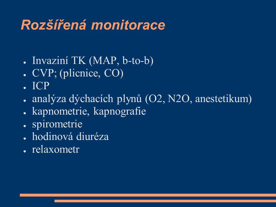 Rozšířená monitorace ● Invaziní TK (MAP, b-to-b) ● CVP; (plicnice, CO) ● ICP ● analýza dýchacích plynů (O2, N2O, anestetikum) ● kapnometrie, kapnograf