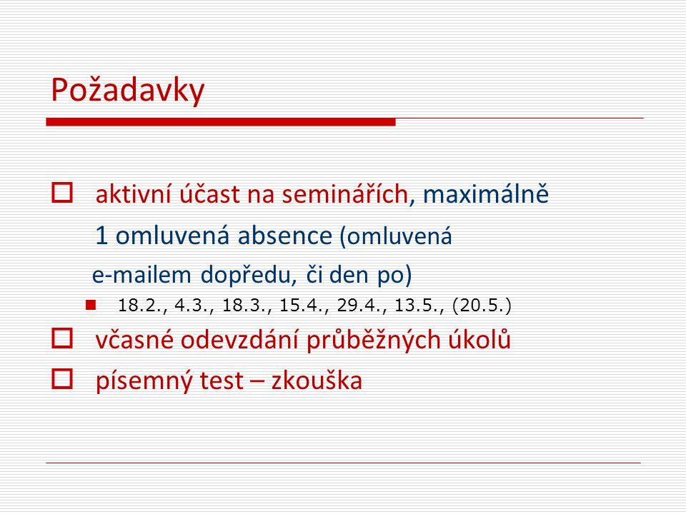 Požadavky  aktivní účast na seminářích, maximálně 1 omluvená absence (omluvená e-mailem dopředu, či den po) 18.2., 4.3., 18.3., 15.4., 29.4., 13.5.,