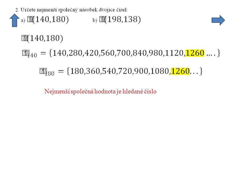 Nejmenší společná hodnota je hledané číslo