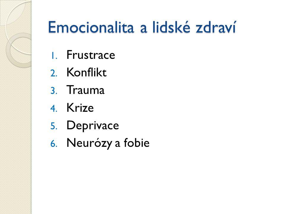 1. Frustrace 2. Konflikt 3. Trauma 4. Krize 5. Deprivace 6. Neurózy a fobie