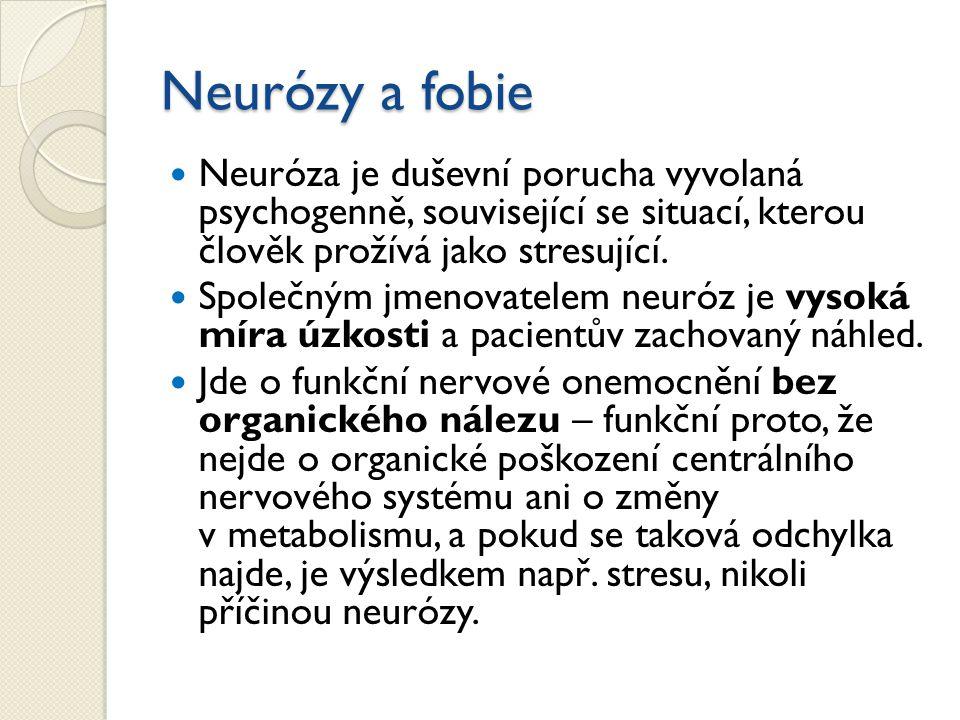 Neurózy a fobie Neuróza je duševní porucha vyvolaná psychogenně, související se situací, kterou člověk prožívá jako stresující. Společným jmenovatelem