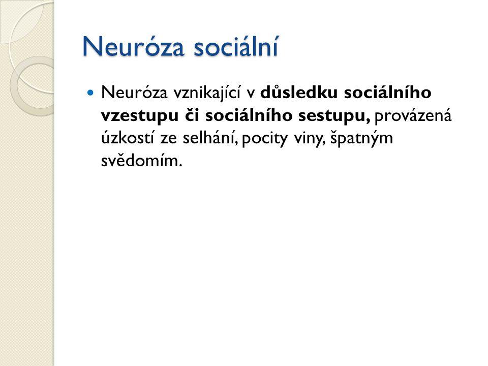 Neuróza sociální Neuróza vznikající v důsledku sociálního vzestupu či sociálního sestupu, provázená úzkostí ze selhání, pocity viny, špatným svědomím.