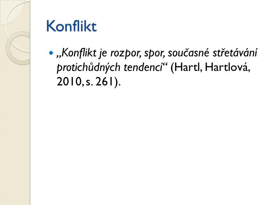"""Konflikt """"Konflikt je rozpor, spor, současné střetávání protichůdných tendencí"""" (Hartl, Hartlová, 2010, s. 261)."""