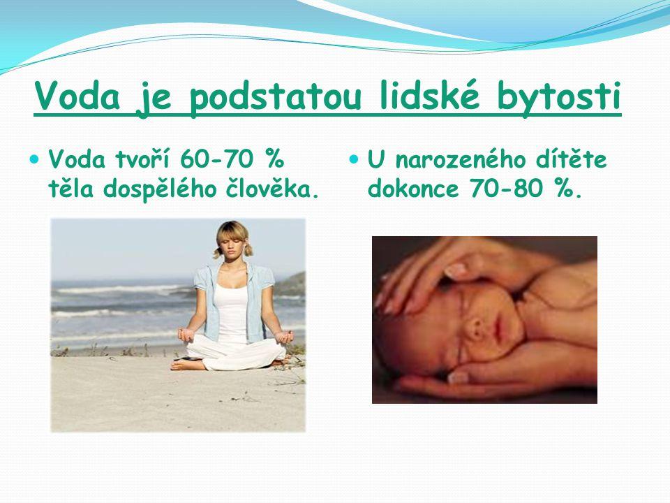 Voda je podstatou lidské bytosti Voda tvoří 60-70 % těla dospělého člověka.