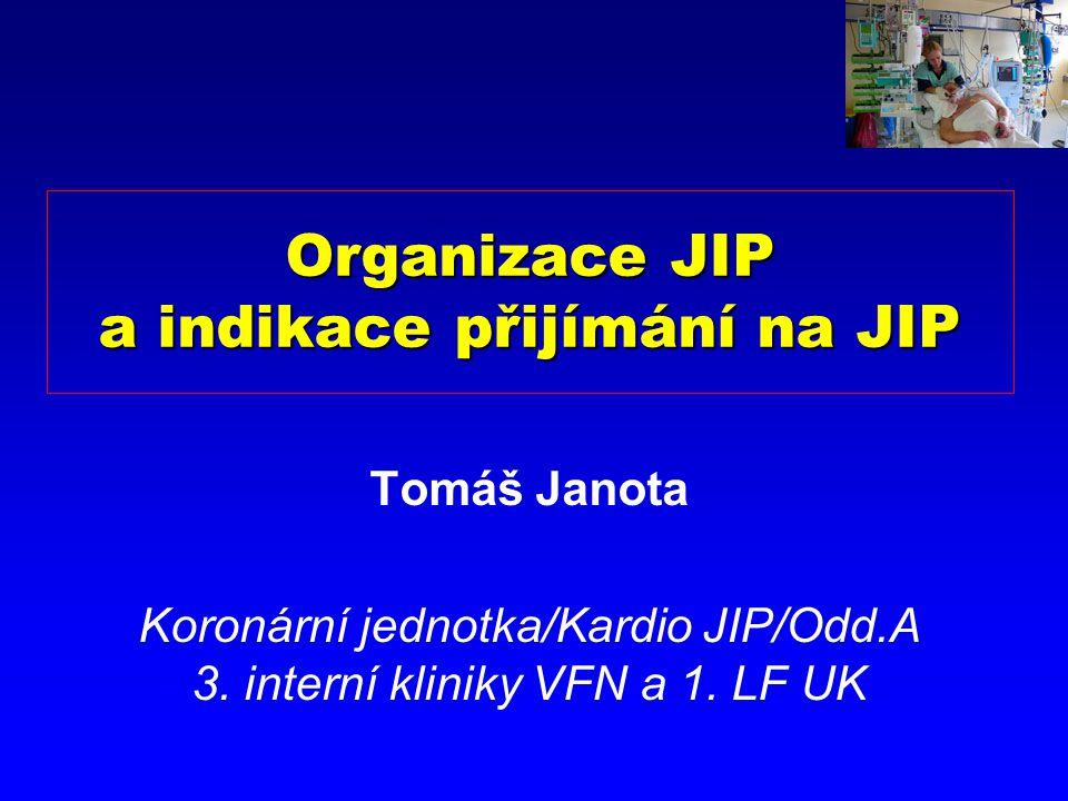 Organizace JIP a indikace přijímání na JIP Tomáš Janota Koronární jednotka/Kardio JIP/Odd.A 3.