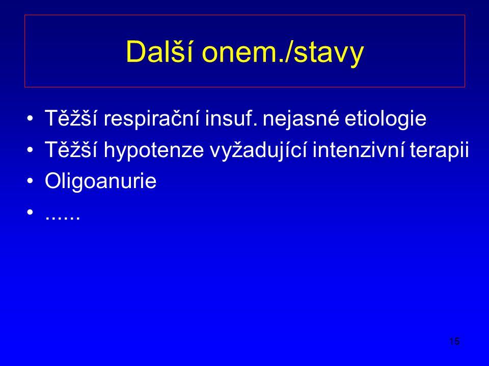 15 Další onem./stavy Těžší respirační insuf.