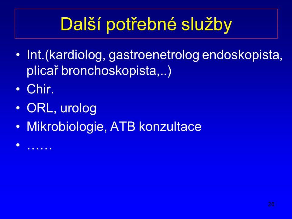 26 Další potřebné služby Int.(kardiolog, gastroenetrolog endoskopista, plicař bronchoskopista,..) Chir.