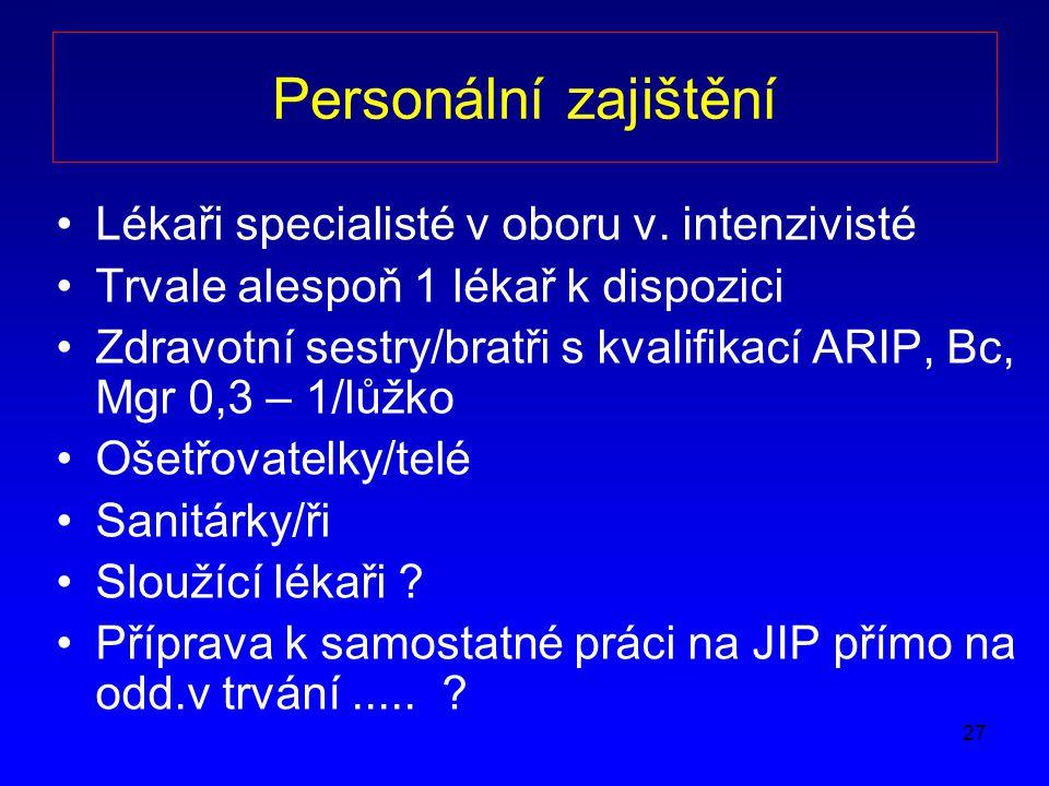 27 Personální zajištění Lékaři specialisté v oboru v.