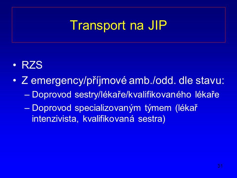31 Transport na JIP RZS Z emergency/příjmové amb./odd.
