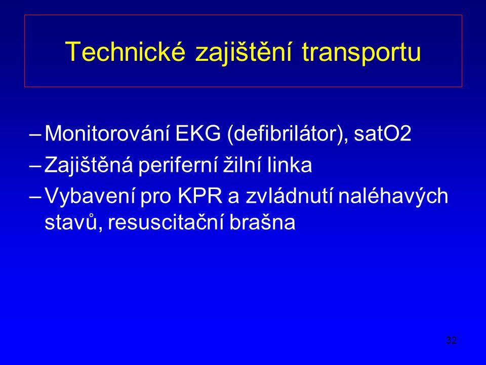 32 Technické zajištění transportu –Monitorování EKG (defibrilátor), satO2 –Zajištěná periferní žilní linka –Vybavení pro KPR a zvládnutí naléhavých stavů, resuscitační brašna