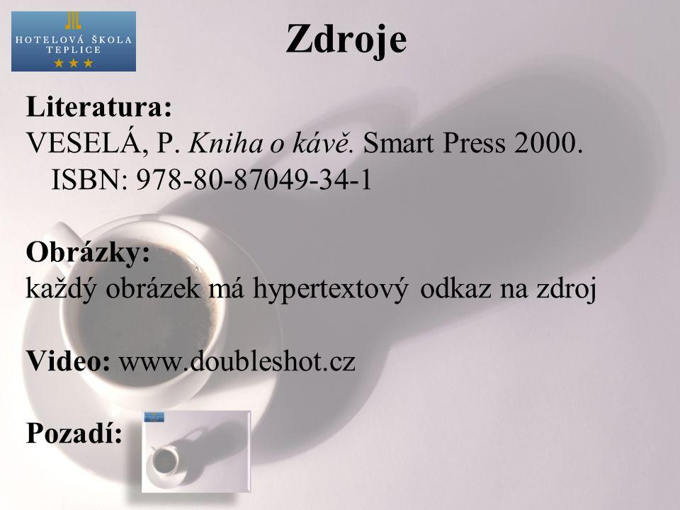 Zdroje Literatura: VESELÁ, P. Kniha o kávě. Smart Press 2000. ISBN: 978-80-87049-34-1 Obrázky: každý obrázek má hypertextový odkaz na zdroj Video: www