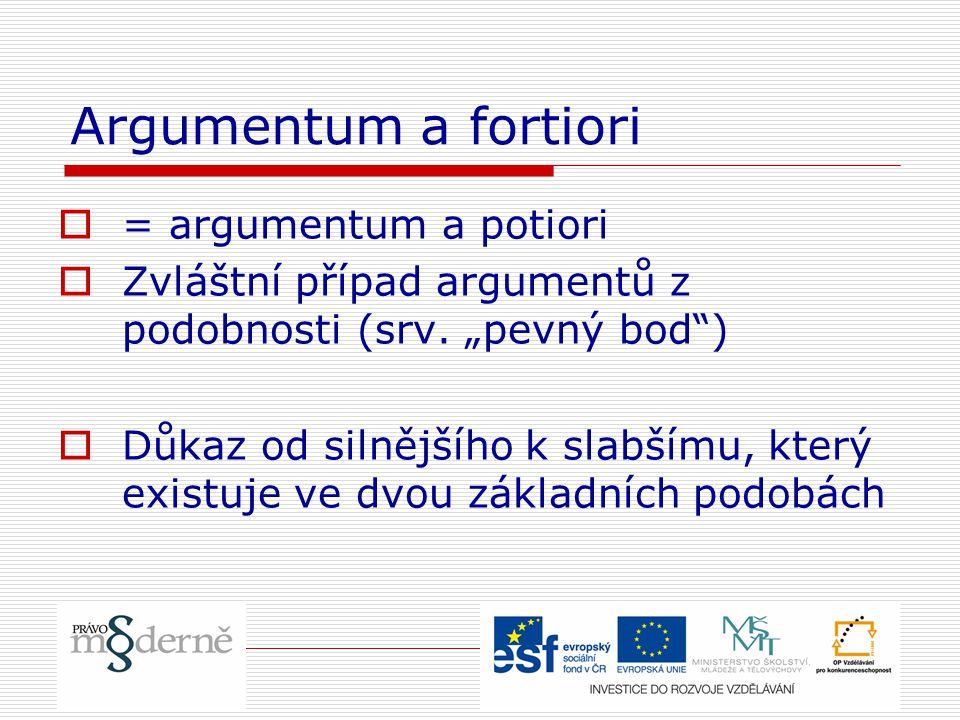 """Argumentum a fortiori  = argumentum a potiori  Zvláštní případ argumentů z podobnosti (srv. """"pevný bod"""")  Důkaz od silnějšího k slabšímu, který exi"""