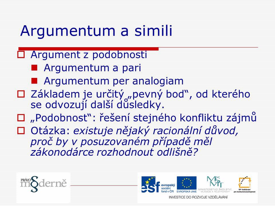 """Argumentum a simili  Argument z podobnosti Argumentum a pari Argumentum per analogiam  Základem je určitý """"pevný bod"""", od kterého se odvozují další"""