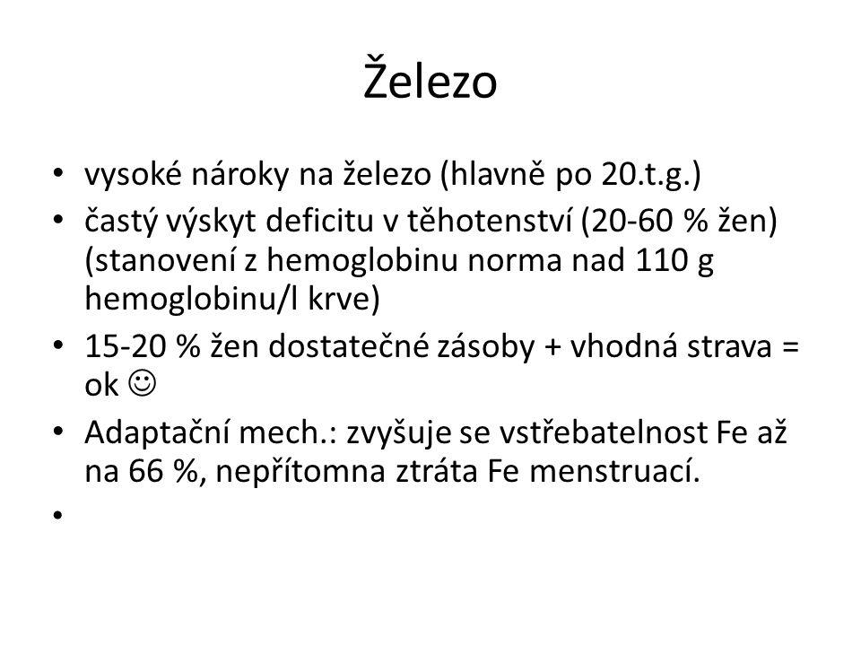 Železo vysoké nároky na železo (hlavně po 20.t.g.) častý výskyt deficitu v těhotenství (20-60 % žen) (stanovení z hemoglobinu norma nad 110 g hemoglob