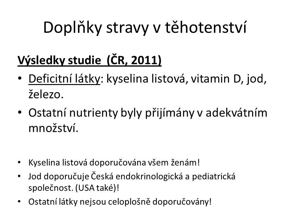 Doplňky stravy v těhotenství Výsledky studie (ČR, 2011) Deficitní látky: kyselina listová, vitamin D, jod, železo. Ostatní nutrienty byly přijímány v