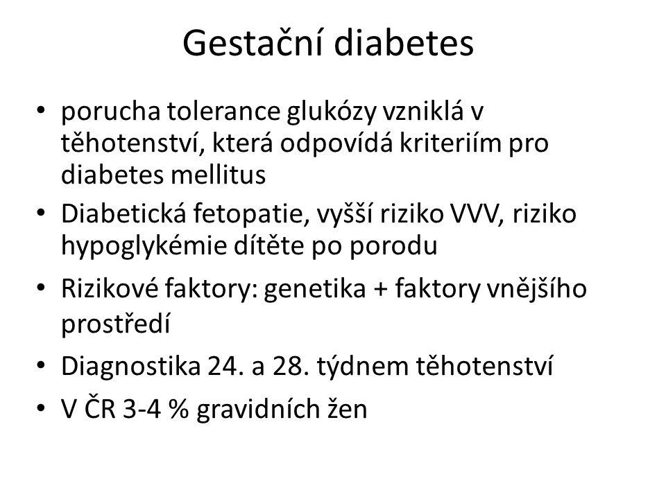 Gestační diabetes porucha tolerance glukózy vzniklá v těhotenství, která odpovídá kriteriím pro diabetes mellitus Diabetická fetopatie, vyšší riziko V