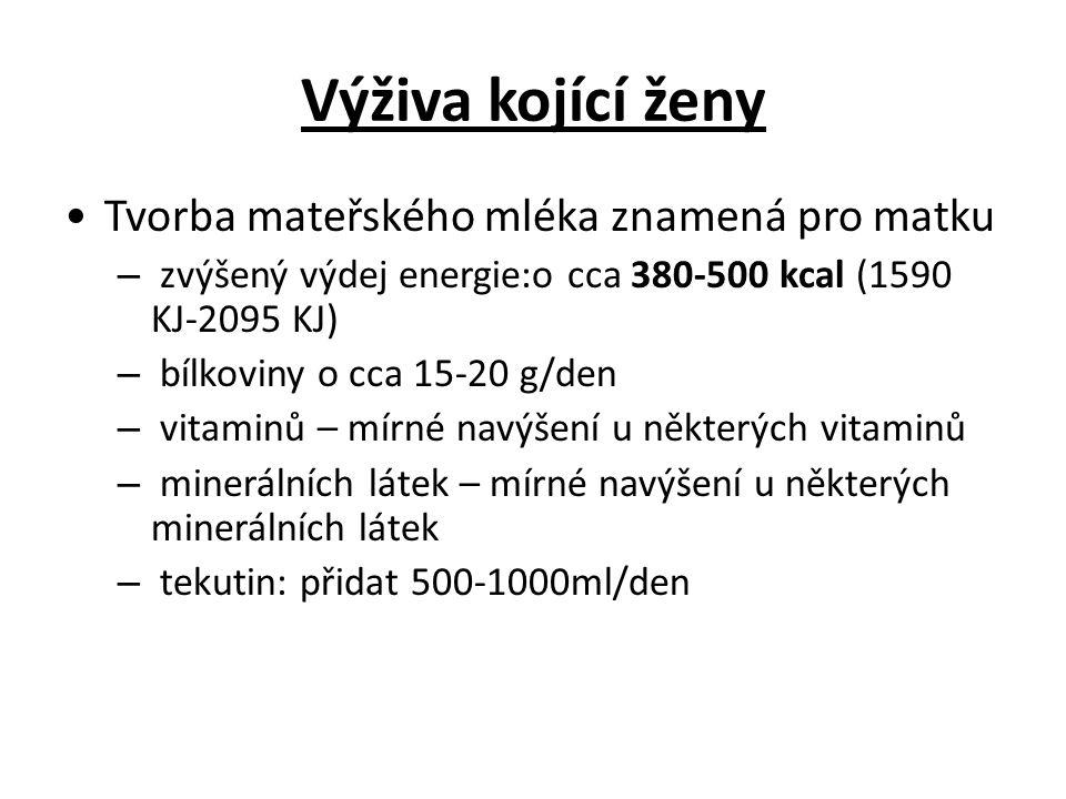 Výživa kojící ženy Tvorba mateřského mléka znamená pro matku – zvýšený výdej energie:o cca 380-500 kcal (1590 KJ-2095 KJ) – bílkoviny o cca 15-20 g/de