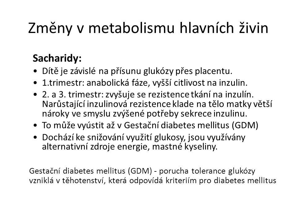 Změny v metabolismu hlavních živin Sacharidy: Dítě je závislé na přísunu glukózy přes placentu. 1.trimestr: anabolická fáze, vyšší citlivost na inzuli