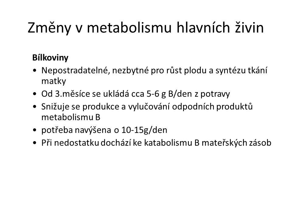 Změny v metabolismu hlavních živin Bílkoviny Nepostradatelné, nezbytné pro růst plodu a syntézu tkání matky Od 3.měsíce se ukládá cca 5-6 g B/den z po