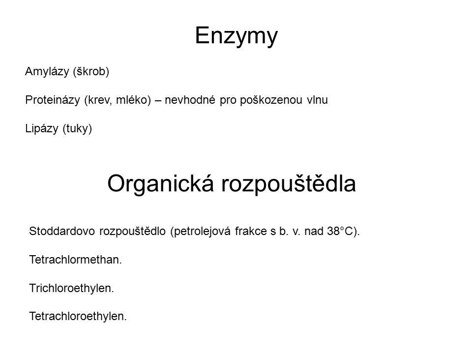 Enzymy Amylázy (škrob) Proteinázy (krev, mléko) – nevhodné pro poškozenou vlnu Lipázy (tuky) Stoddardovo rozpouštědlo (petrolejová frakce s b. v. nad
