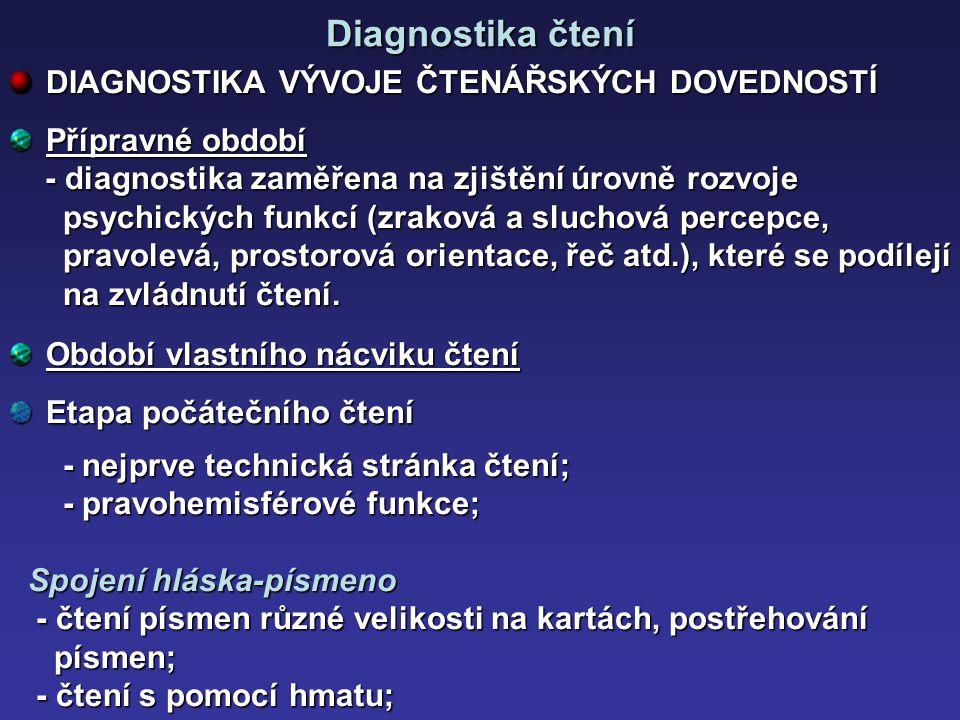 Diagnostika čtení DIAGNOSTIKA VÝVOJE ČTENÁŘSKÝCH DOVEDNOSTÍ Přípravné období - diagnostika zaměřena na zjištění úrovně rozvoje - diagnostika zaměřena
