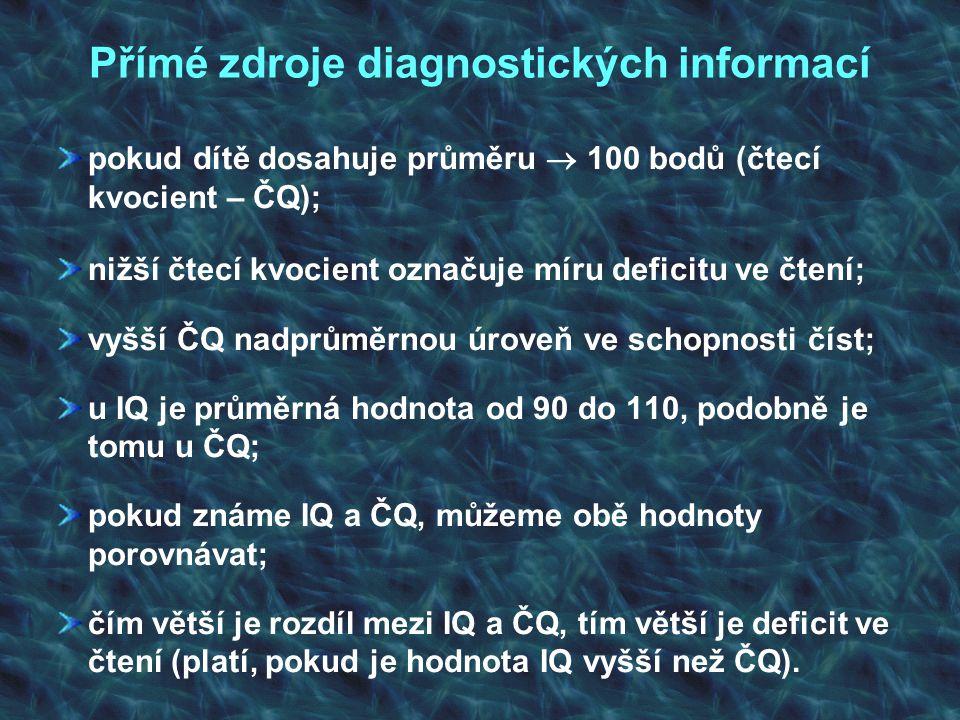 Přímé zdroje diagnostických informací pokud dítě dosahuje průměru  100 bodů (čtecí kvocient – ČQ); nižší čtecí kvocient označuje míru deficitu ve čte