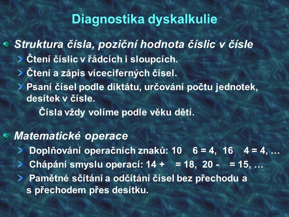 Diagnostika dyskalkulie Struktura čísla, poziční hodnota číslic v čísle Čtení číslic v řádcích i sloupcích. Čtení a zápis víceciferných čísel. Psaní č