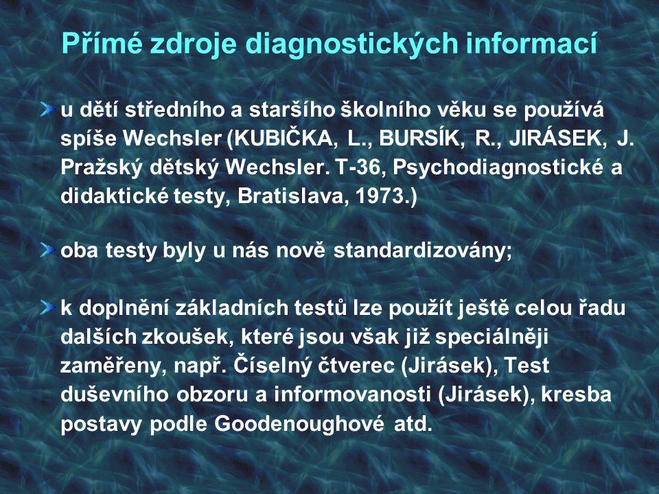 Přímé zdroje diagnostických informací u dětí středního a staršího školního věku se používá spíše Wechsler (KUBIČKA, L., BURSÍK, R., JIRÁSEK, J. Pražsk