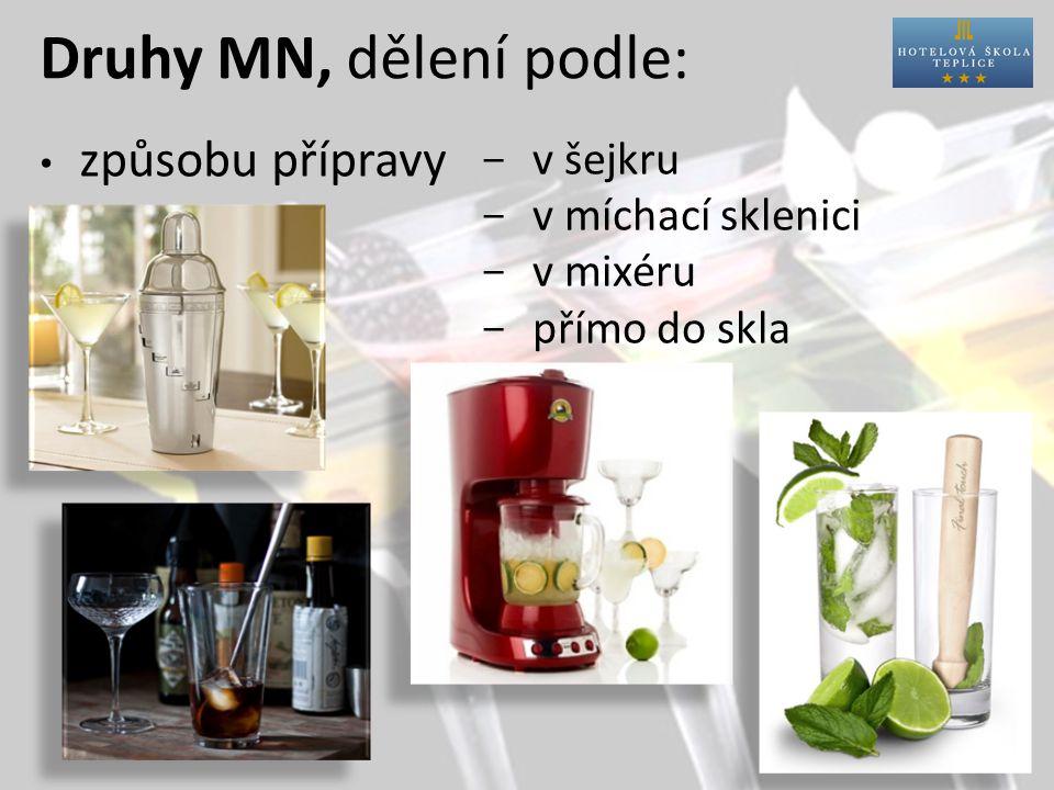 Druhy MN, dělení podle: způsobu přípravy  v šejkru  v míchací sklenici  v mixéru  přímo do skla