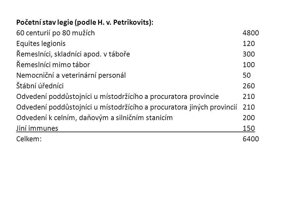 Početní stav legie (podle H. v. Petrikovits): 60 centurií po 80 mužích4800 Equites legionis120 Řemeslníci, skladníci apod. v táboře 300 Řemeslníci mim