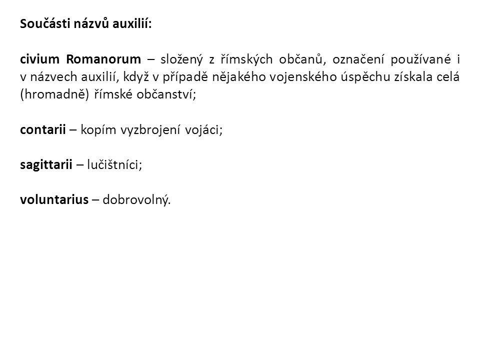 Součásti názvů auxilií: civium Romanorum – složený z římských občanů, označení používané i v názvech auxilií, když v případě nějakého vojenského úspěc