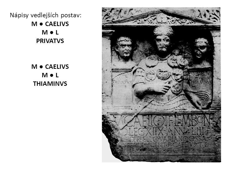 Nápisy vedlejších postav: M ● CAELIVS M ● L PRIVATVS M ● CAELIVS M ● L THIAMINVS