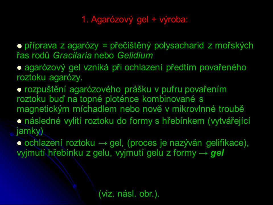 1. Agarózový gel + výroba: příprava z agarózy = přečištěný polysacharid z mořských řas rodů Gracilaria nebo Gelidium agarózový gel vzniká při ochlazen