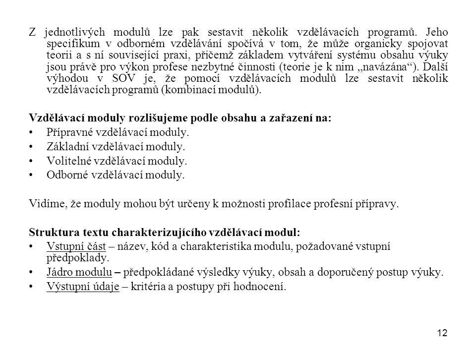 12 Z jednotlivých modulů lze pak sestavit několik vzdělávacích programů. Jeho specifikum v odborném vzdělávání spočívá v tom, že může organicky spojov