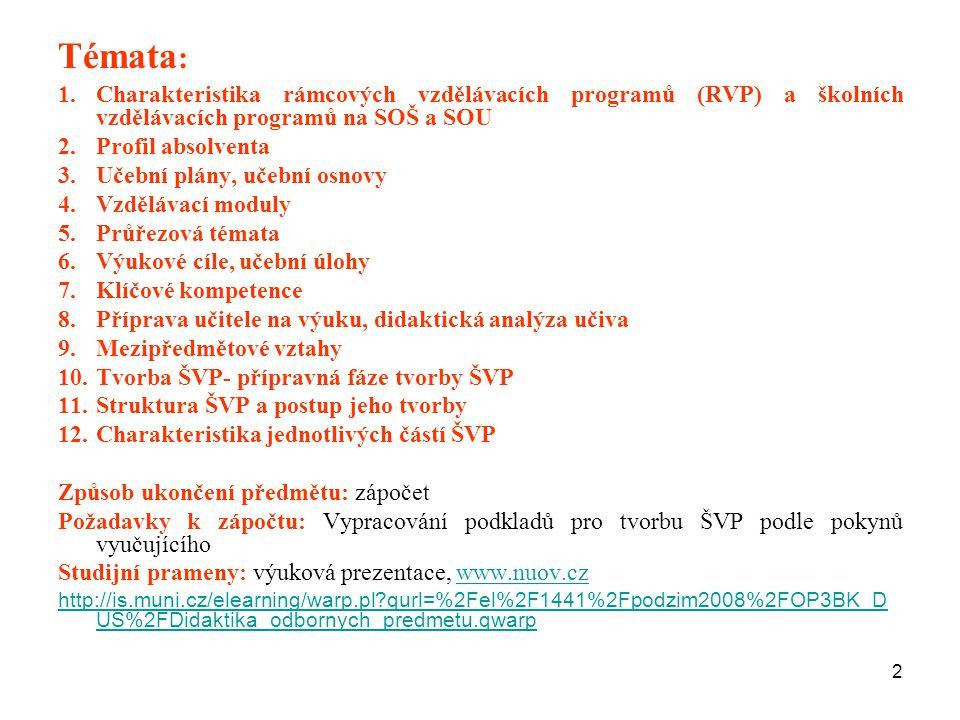2 Témata : 1.Charakteristika rámcových vzdělávacích programů (RVP) a školních vzdělávacích programů na SOŠ a SOU 2.Profil absolventa 3.Učební plány, u