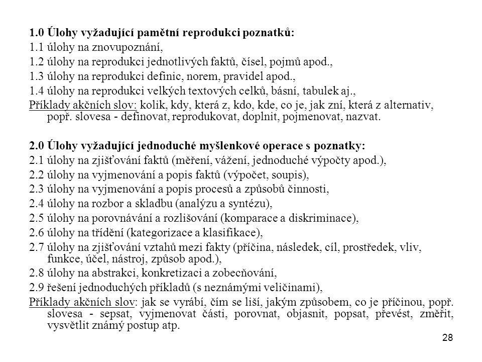 28 1.0 Úlohy vyžadující pamětní reprodukci poznatků: 1.1 úlohy na znovupoznání, 1.2 úlohy na reprodukci jednotlivých faktů, čísel, pojmů apod., 1.3 úl