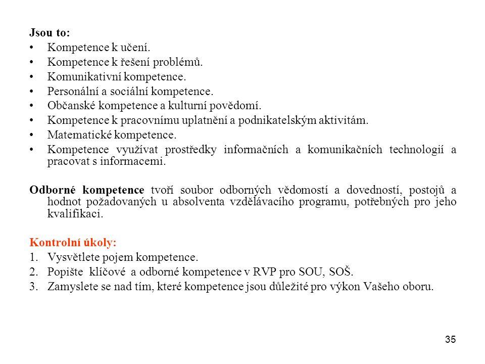 35 Jsou to: Kompetence k učení. Kompetence k řešení problémů. Komunikativní kompetence. Personální a sociální kompetence. Občanské kompetence a kultur