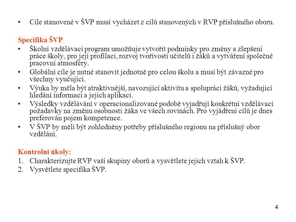 4 Cíle stanovené v ŠVP musí vycházet z cílů stanovených v RVP příslušného oboru. Specifika ŠVP Školní vzdělávací program umožňuje vytvořit podmínky pr