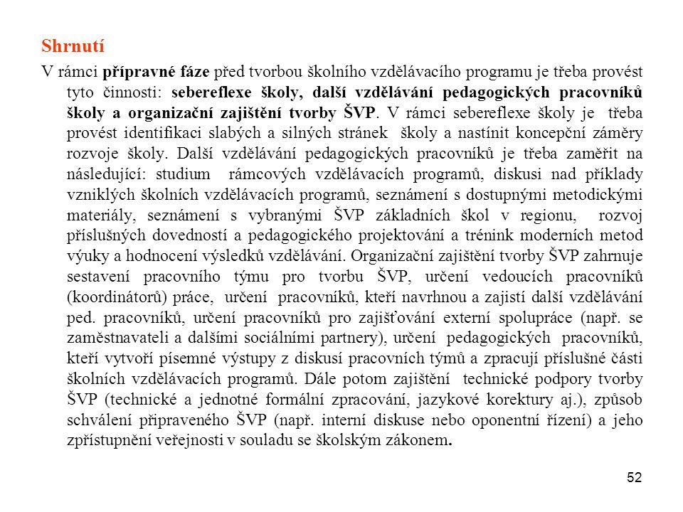 52 Shrnutí V rámci přípravné fáze před tvorbou školního vzdělávacího programu je třeba provést tyto činnosti: sebereflexe školy, další vzdělávání peda