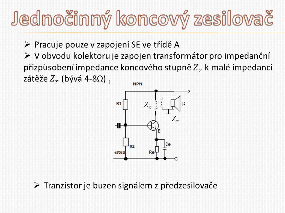 R  Tranzistor je buzen signálem z předzesilovače