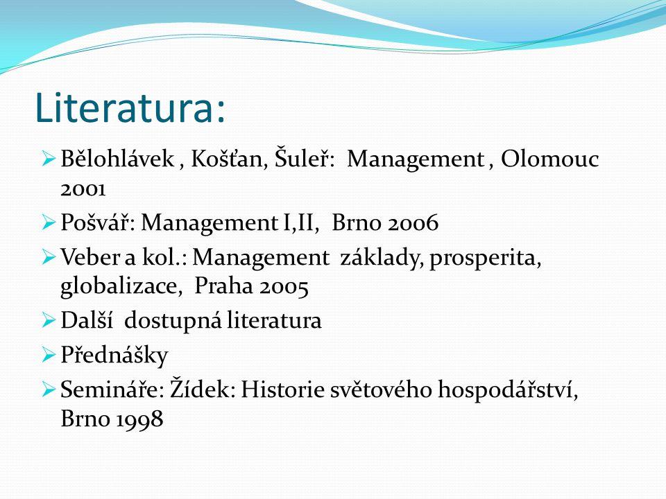 Literatura:  Bělohlávek, Košťan, Šuleř: Management, Olomouc 2001  Pošvář: Management I,II, Brno 2006  Veber a kol.: Management základy, prosperita,