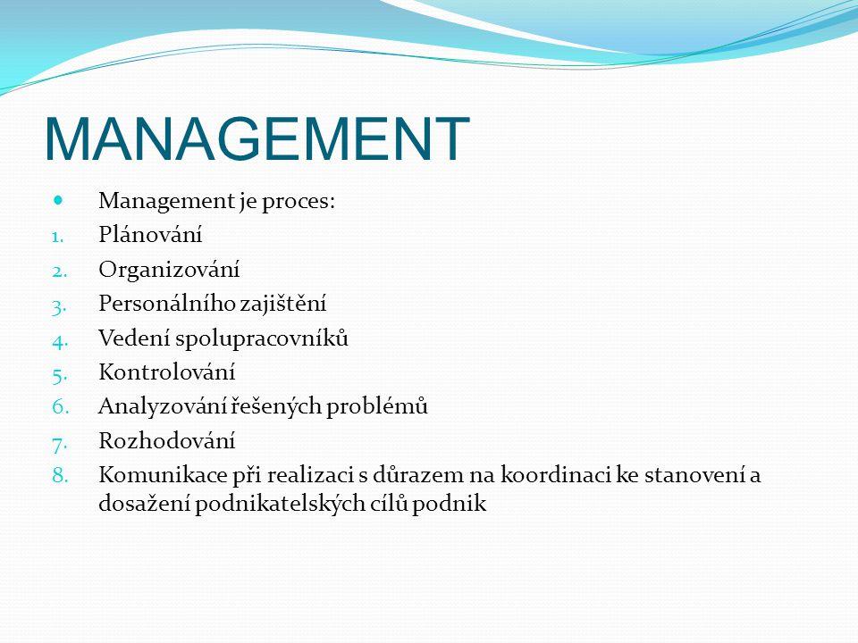 MANAGEMENT Management je proces: 1. Plánování 2. Organizování 3. Personálního zajištění 4. Vedení spolupracovníků 5. Kontrolování 6. Analyzování řešen