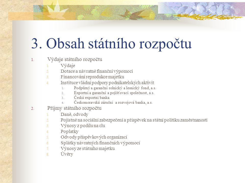 3. Obsah státního rozpočtu 1. Výdaje státního rozpočtu 1.