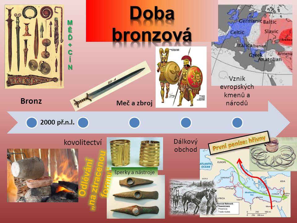 Bronz kovolitectví Meč a zbroj Dálkový obchod Vznik evropských kmenů a národů šperky a nástroje 2000 př.n.l.