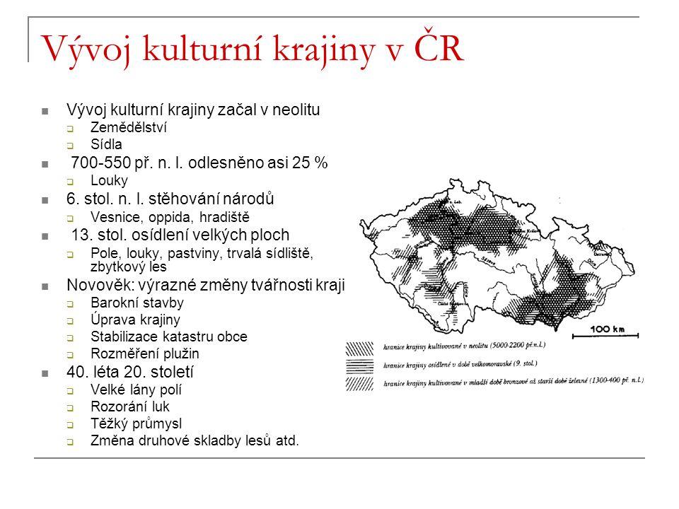 Vývoj kulturní krajiny v ČR Vývoj kulturní krajiny začal v neolitu  Zemědělství  Sídla 700-550 př. n. l. odlesněno asi 25 %  Louky 6. stol. n. l. s