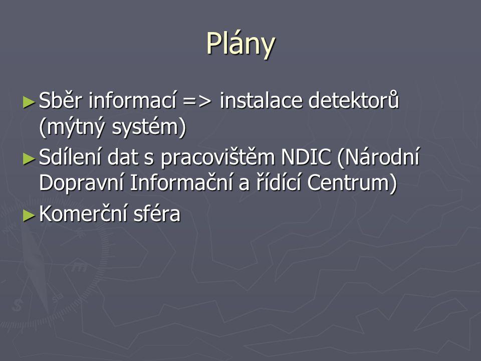 Plány ► Sběr informací => instalace detektorů (mýtný systém) ► Sdílení dat s pracovištěm NDIC (Národní Dopravní Informační a řídící Centrum) ► Komerčn